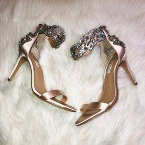 INC Razizel Nude Satin Sandals 7.5